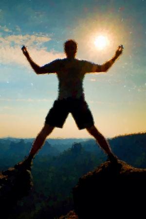 Watercolor paint. Paint effect. Jumping hiker in black gesture triumph Between Two rocky peaks. Wonderful daybreak.