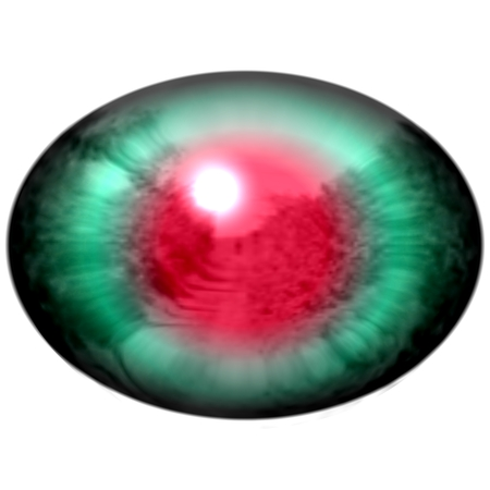 retina: Green animal eye with large pupil and bright red retina in background. Dark green iris around pupil, detail view into eye bulb.