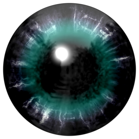dilated pupils: Isolated big green eye. Illustration of green blue stripped eye iris, light reflection