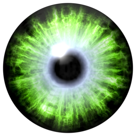 sightless: Isolated big green eye. Illustration of green blue stripped eye iris, light reflection