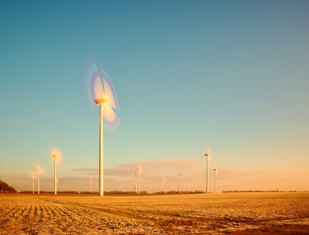 megawatt: Windmills for renewable electric energy production. Vintage Style Toned effect