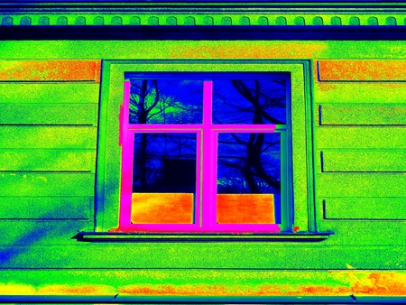 infra construction: Thermography measurement  scan. Traditional construction of bricks house with old style windows. Thermal waste map. Just effect.