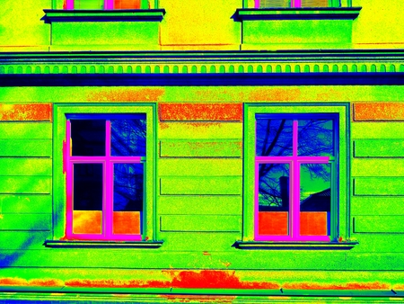thermography: Thermography measurement  scan. Traditional construction of bricks house with old style windows. Thermal waste map. Just effect.