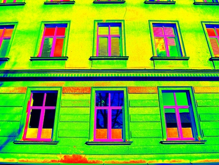 gamma radiation: Thermography measurement  scan. Traditional construction of bricks house with old style windows. Thermal waste map. Just effect.