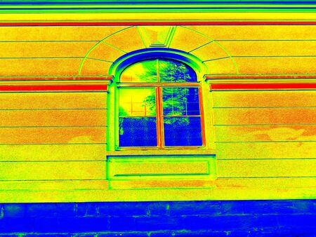 infra construction: Thermography scan. Traditional construction of bricks house with old style windows. Thermal waste map. Just effect. Stock Photo
