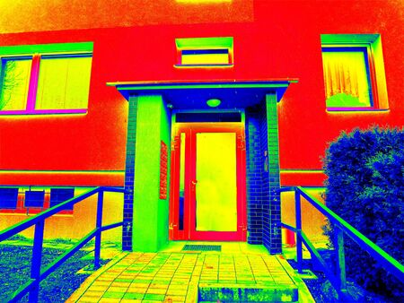 infra construction: Modern plastic frame door in flat house with modern sandwich windows. Thermography measurement scan. Thermal waste maps.