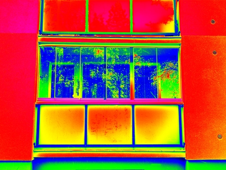 infra construction: Thermography measurement scan. Closed construction on loggia in flat house with modern SENDWICH windows. Thermal waste maps.