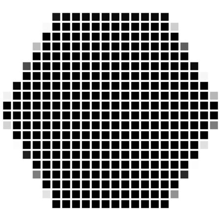 shadowed: Hexagon. The simple geometric pattern of black squares with shadowed frame. Set of dot patterns. Halftone pattern for the posters, banners, leaflets, flayers, presentations, Stock Photo