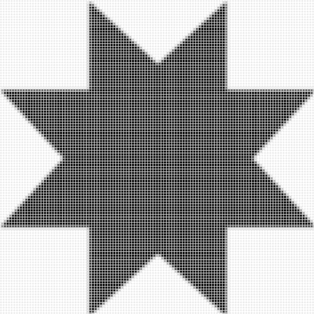 shadowed: Eight pointed star, ostagon. The simple geometric pattern of black squares with shadowed frame. Set of dot patterns. Halftone pattern for the posters, banner Stock Photo