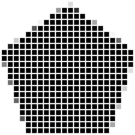 shadowed: Pentagon, The simple geometric pattern of black squares with shadowed frame. Set of dot patterns. Halftone pattern for the posters, banners, leaflets, flayers, presentations,