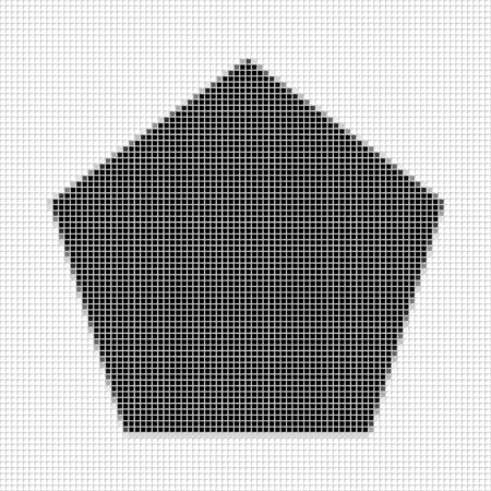 flayers: Pentagon, The simple geometric pattern of black squares with shadowed frame. Set of dot patterns. Halftone pattern for the posters, banners, leaflets, flayers, presentations,