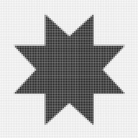 flayers: Eight pointed star, ostagon. The simple geometric pattern of black squares with shadowed frame. Set of dot patterns. Halftone pattern for the posters, banner Stock Photo