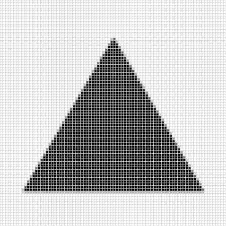shadowed: Triangle. The simple geometric pattern of black squares with shadowed frame. Set of dot patterns. Halftone pattern for the posters, banners, leaflets, flayers, presentations, Stock Photo