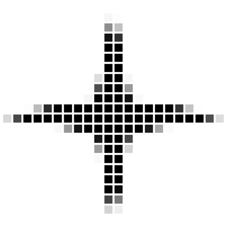 shadowed: Four sided star. The simple geometric pattern of black squares with shadowed frame. Set of dot patterns. Halftone pattern for the posters, banners, leaflets, flayers, presentations, Stock Photo