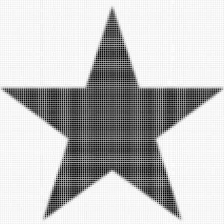 shadowed: Five pointed star, pentagram.  The simple geometric pattern of black squares with shadowed frame. Set of dot patterns. Halftone pattern for the posters, banners, leaflets, flayers, presentations, Stock Photo