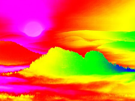 infra red: Amazing thermography photo of hilly landscape. Spring hot sunset above long misty valley with forest. Stock Photo