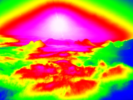 gamma radiation: Amazing thermography photo of hilly landscape. Spring hot sunset above long misty valley with forest. Stock Photo