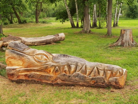 tallado en madera: Detalle de la escultura de la cabeza del águila de madera en el parque infantil, la talla en madera de arte público. Foto de archivo