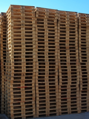 euro pallet: Outside stock of new wooden euro pallets Manufactured Stock Photo