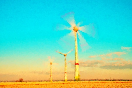 suny: Watercolor paint. Paint effect. Modern Wind Turbines Producing Energy in SUNY spring morning. Stock Photo