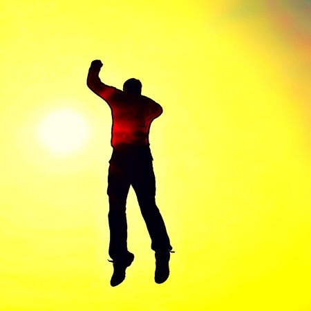 man falling: Cartoon of photo. Super man fly. Young man falling down on colorful sky background.