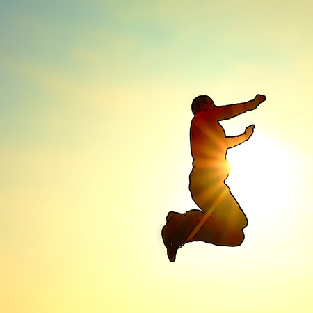 skydiver: Cartoon of photo. Flying man. Young man falling down on colorful sky background. Stock Photo