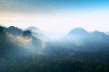 heavy effect: Watercolor paint. Paint effect. Blue Spring morning in landscape. View into a deep valley full of heavy blue mist. Autumn daybreak after rainy night.