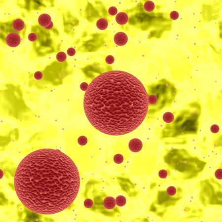 secretion: Dangerous bloody spheres of dangerous bacteria or virus spheres in yellow blood
