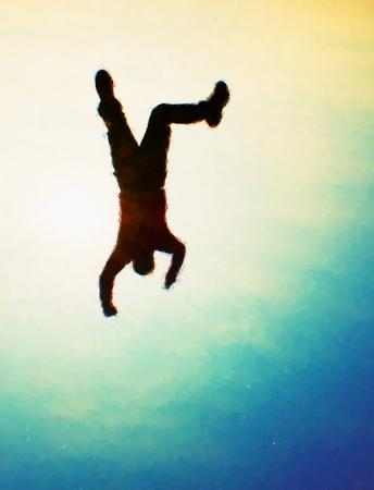 hombre cayendo: pintura de acuarela. efecto de la pintura. Hombre volador. hombre joven que cae abajo en el fondo de colores el cielo. Estilo Vintage efecto virada