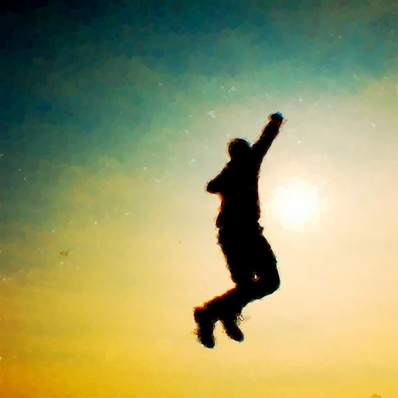 flying man: Watercolor paint. Paint effect. Flying man. Young man falling down on colorful sky background. Vintage Style Toned effect Stock Photo