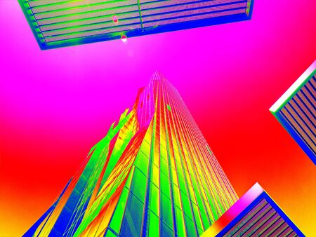 thermography: Thermal scan of  skyscraper sticking into sky. Very high steel concrete building.  Background in amazing thermography colors. Stock Photo