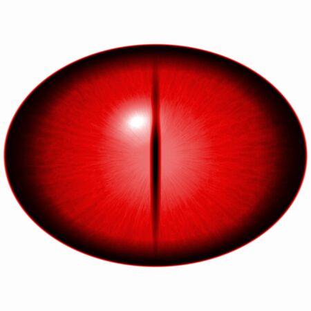 big eye: Seven eyes set. Isolated red elilptic eye. Big eye with striped iris and dark elliptic pupil.