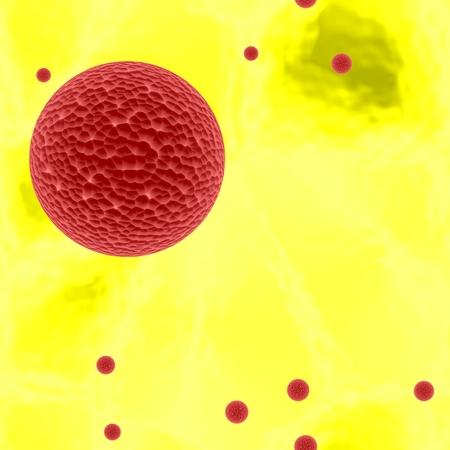 secretion: Dangerous bloody spheres of dangerous bacteria or virus spheres in yellow blood , 3d ilustration, Stock Photo