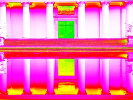 thermogram: Infrared scan of old museum archway building  and outdoor pool water reflections Stock Photo
