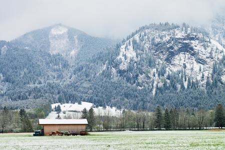 farmyard: Wooden barn of famhouse in farmyard. Wet spring snow in already fresh green meadows bellow Alpine mountains. April weather. Stock Photo