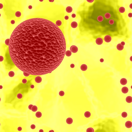 secretion: Dangerous bloody spheres of dangerous bacteria or virus spheres in yellow blood, 3d ilustration,