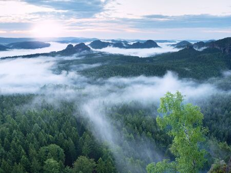 marvelous: Marvelous daybreak. Misty awakening in a beautiful hills. Peaks of hills are sticking out from foggy background, the fog is red and orange due to Sun rays. Stock Photo