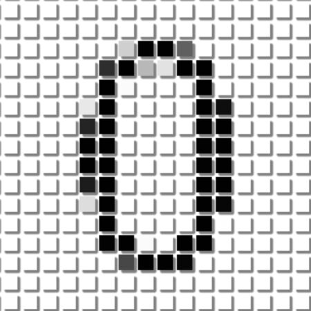 shadowed: Zero. The simple geometric pattern of black squares in shape of number zero with shadowed frame. Set of dot patterns for posters, banners, leaflets, flayers, presentations