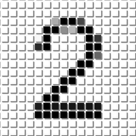 flayers: Two. The simple geometric pattern of black squares in shape of number two with shadowed frame. Set of dot patterns for posters, banners, leaflets, flayers, presentations,