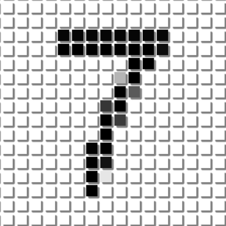 shadowed: Seven. The simple geometric pattern of black squares in shape of number seven with shadowed frame. Set of dot patterns for posters, banners, leaflets, flayers, presentations, Stock Photo