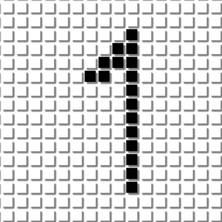 shadowed: One. The simple geometric pattern of black squares in shape of number one with shadowed frame. Set of dot patterns for posters, banners, leaflets, flayers, presentations,