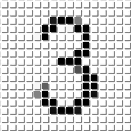 shadowed: Three. The simple geometric pattern of black squares in shape of number three with shadowed frame. Set of dot patterns for posters, banners, leaflets, flayers, presentations, Stock Photo