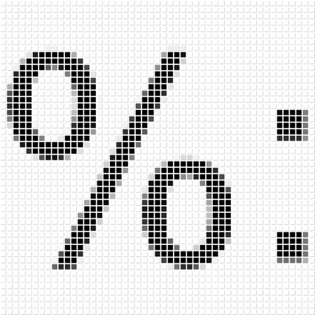 shadowed: Percentage, duble dot.  The simple geometric pattern of black squares in shape of  Percentage, duble dot with shadowed frame. Set of dot patterns for posters, banners, leaflets, flayers, presentations Stock Photo