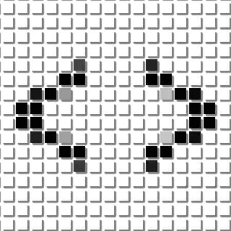 flayers: Bracket.  The simple geometric pattern of black squares in shape of spiky  bracket with shadowed frame. Set of dot patterns for posters, banners, leaflets, flayers, presentations Stock Photo