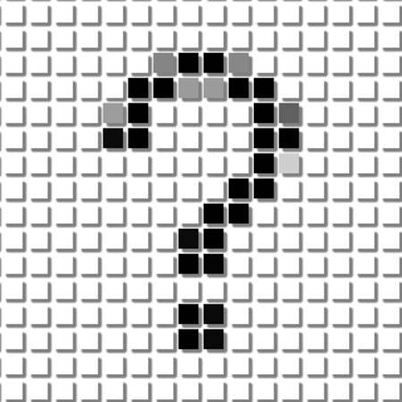 interrogation mark: Question mark,interrogation point.  The simple geometric pattern of black squares in shape of  question mark with shadowed frame. Set of dot patterns for posters, banners, leaflets, flayers, presentations