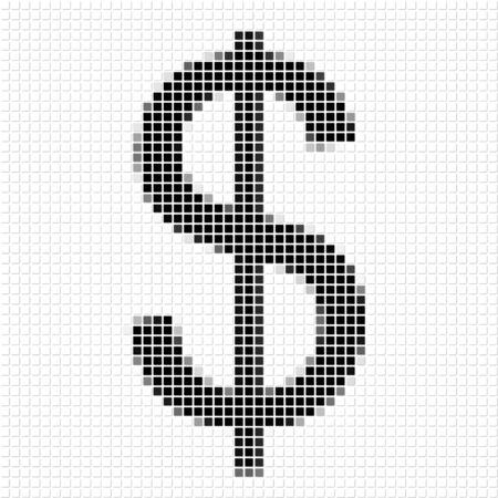 shadowed: The dollar.  The simple geometric pattern of black squares in shape of  dollar with shadowed frame. Set of dot patterns for posters, banners, leaflets, flayers, presentations Stock Photo