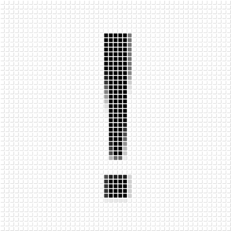 flayers: Exclamation mark..  The simple geometric pattern of black squares in shape of  exclamation mark with shadowed frame. Set of dot patterns for posters, banners, leaflets, flayers, presentations Stock Photo