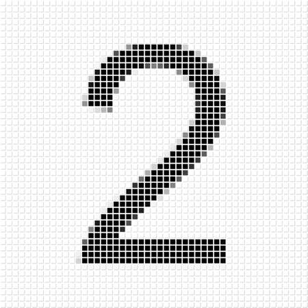 shadowed: Two. The simple geometric pattern of black squares in shape of number two with shadowed frame. Set of dot patterns for posters, banners, leaflets, flayers, presentations,