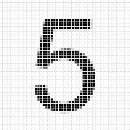 shadowed: Five. The simple geometric pattern of black squares in shape of number five with shadowed frame. Set of dot patterns for posters, banners, leaflets, flayers, presentations,