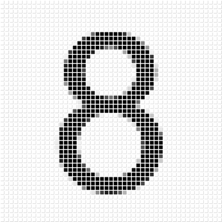 shadowed: Eight. The simple geometric pattern of black squares in shape of number eight with shadowed frame. Set of dot patterns for posters, banners, leaflets, flayers, presentations, Stock Photo